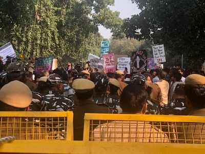 JNU students stage a demonstration to demand a complete rollback of the proposed hostel fee hike in New Delhi on Nov 29, 2019. (Photo: IANS)