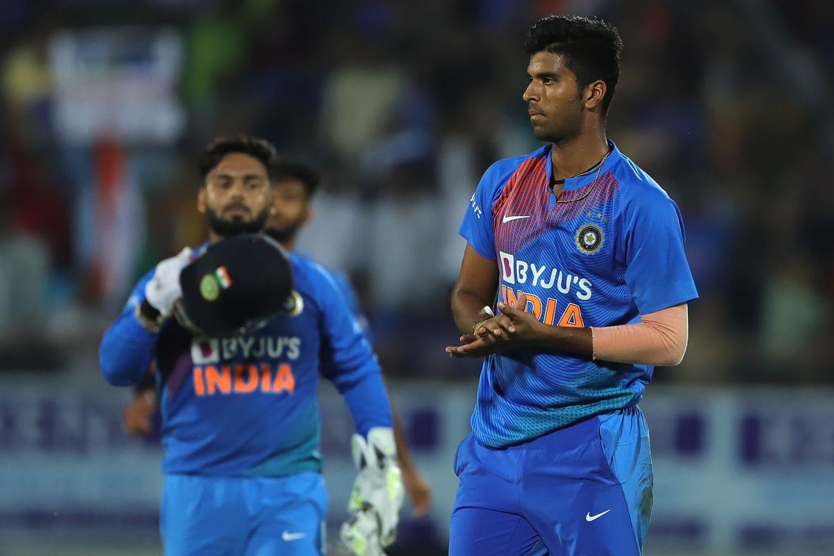 Washington Sundar of India celebrates the wicket of Mohammad Naim of Bangladesh during the 2nd T20I match between India and Bangladesh held at the Saurashtra Cricket Association Stadium, Rajkot on the 7th November 2019.