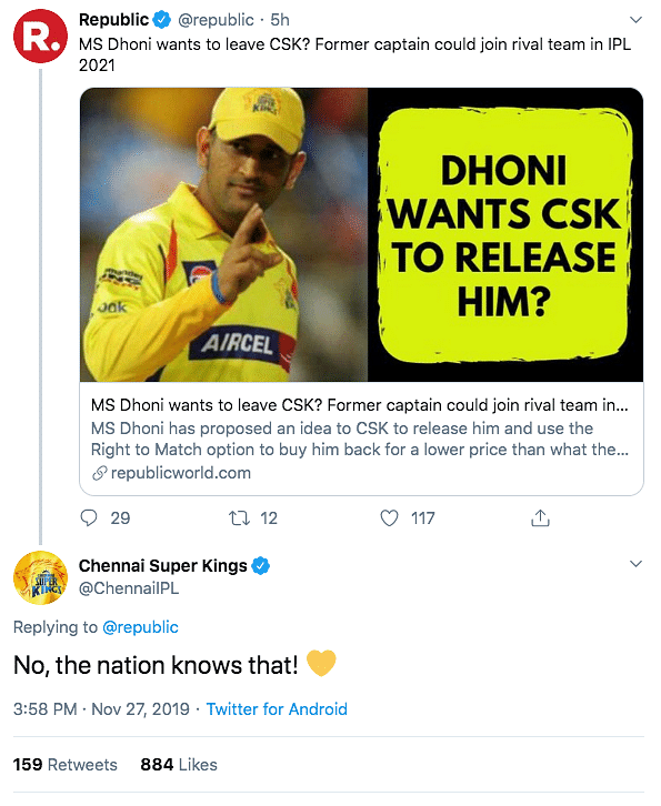 'Nation Knows That!' CSK Trolls Republic TV For Speculation on MSD