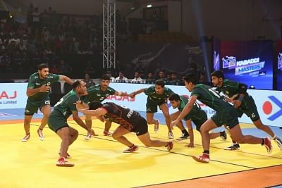 Dubai: Players in action during the first Semi-Final Kabaddi Masters match between Iran and Pakistan in Dubai, UAE on June 29, 2018. (Photo: IANS)