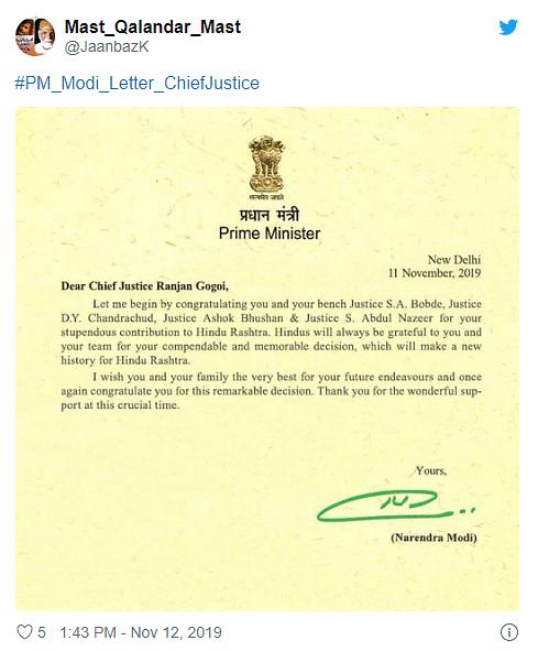Ayodhya Case: Did PM Modi Write Congratulatory Letter to CJI?