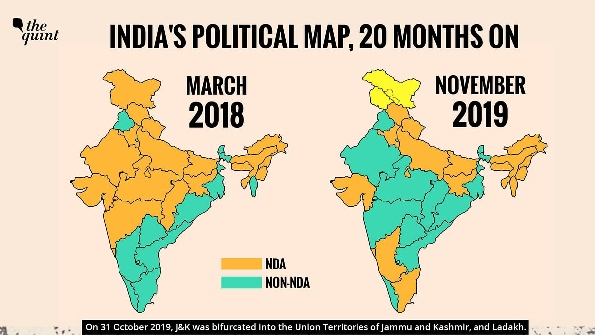 India's political map, 20 months on.