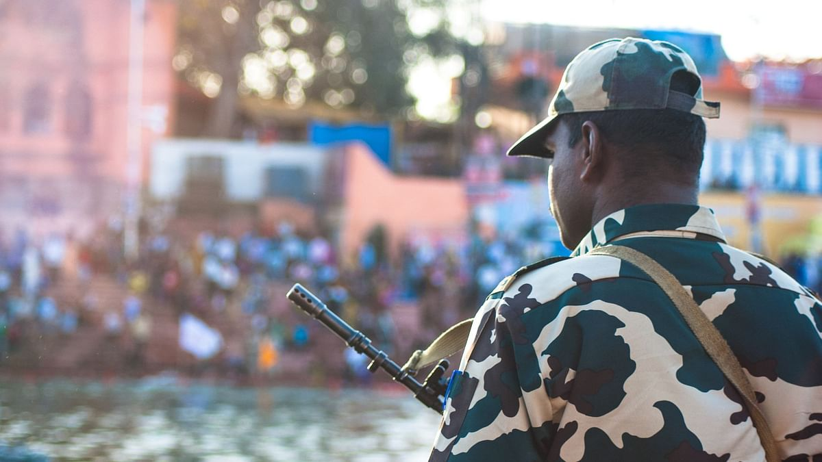 A CRPF Jawan stands guard. Image used for representation.