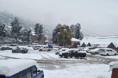 Kinnaur District in Himachal Pradesh receives fresh snowfall on Nov 27, 2019. (Photo: IANS)