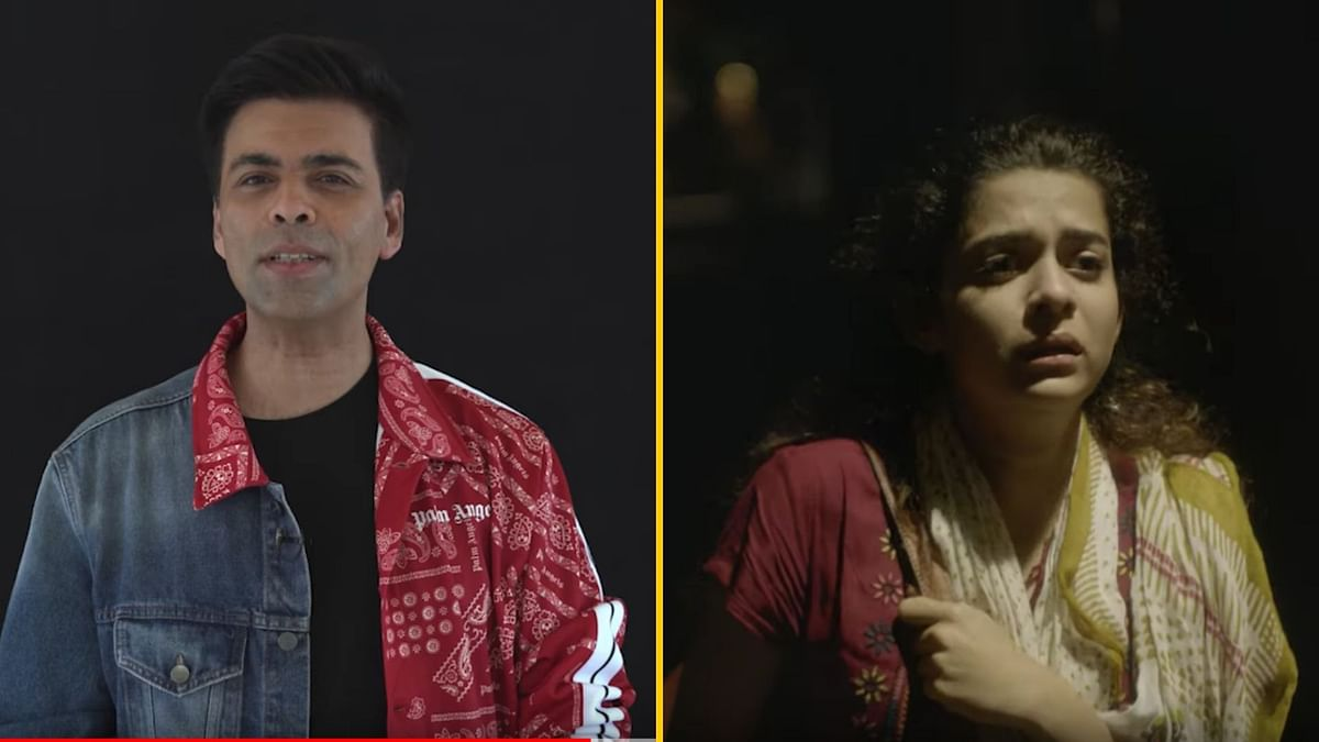 Karan Johar and Mithila Palkar in <i>Girls Got Talent</i>, a short film on women's safety.&nbsp;