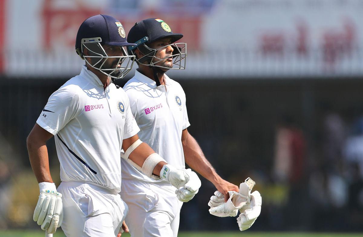 Mayank Agarwal and Ajinkya Rahane shared a partnership of 190 runs for the fifth wicket.