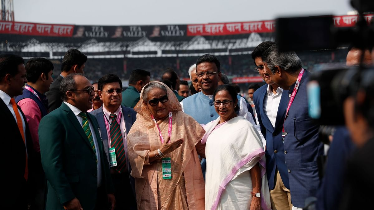 Bangladesh Prime Minister Sheikh Hasina and West Bengal Chief Minister Mamata Banerjee before the start of the India-Bangladesh Pink Ball Test in Kolkata.
