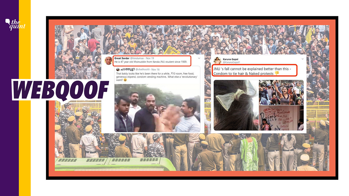 Multiple images of protesters at JNU are being circulated on social media with misleading claims.