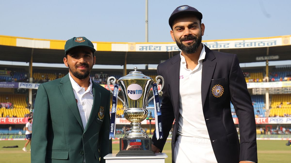 Bangladesh captain Mominul Haque won the toss and elected to bat against India in both the teams' maiden Day/Night Test.