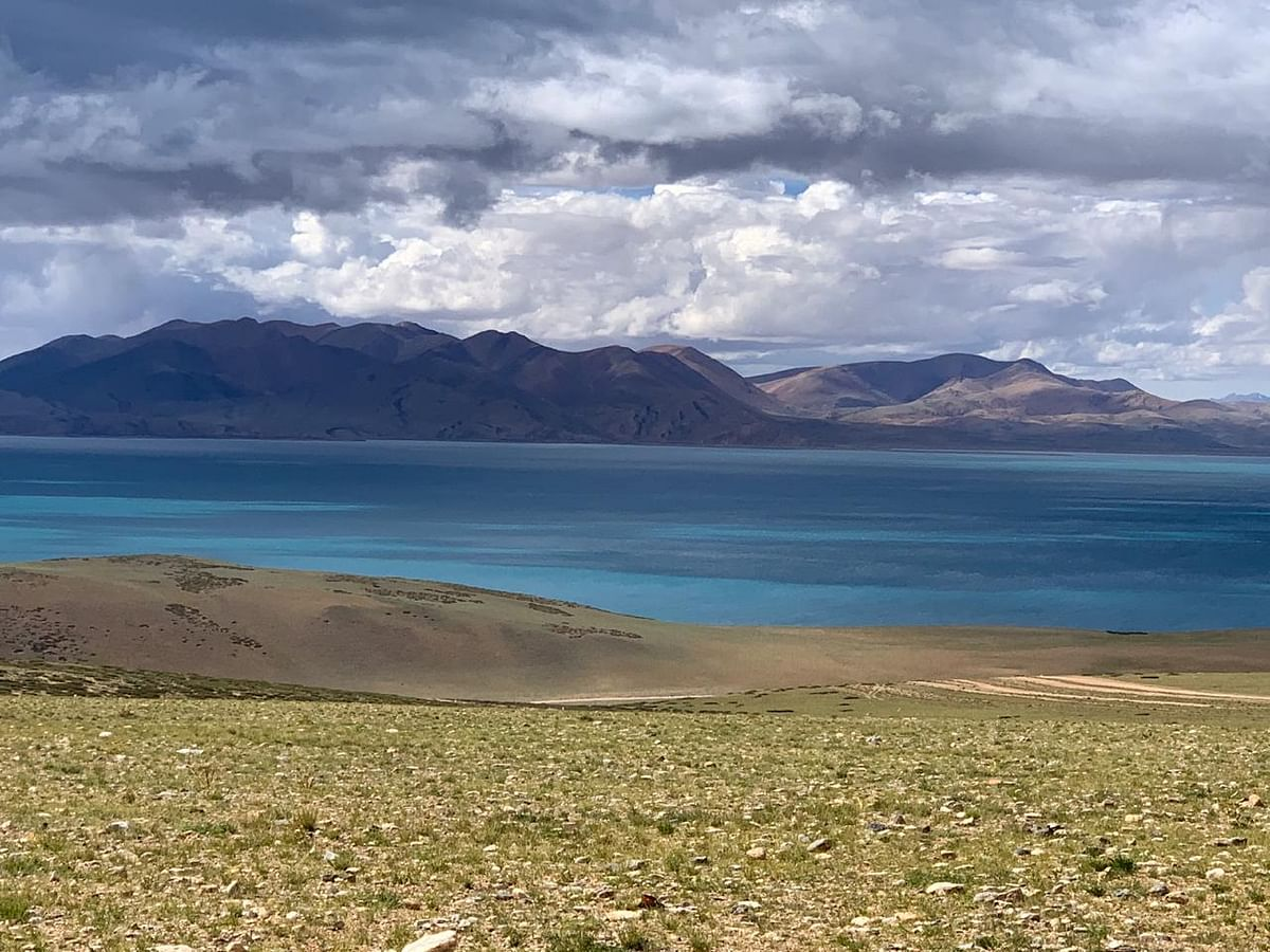 Lake Mansarovar is relatively round in shape with the circumference of 88 kms and height of 15,060 ft above mean sea level.
