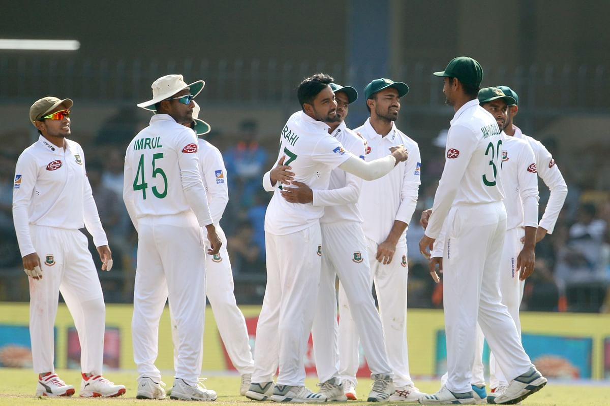 Bangladesh players celebrates the wicket of Ajinkya Rahane of India during day two of the the 1st Test match between India and Bangladesh held at the Holkar Cricket Stadium, Indore on the 15th November 2019.