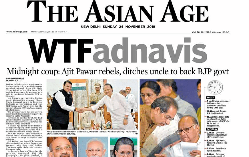 The Asian Age headline was the most millenial of the lot.
