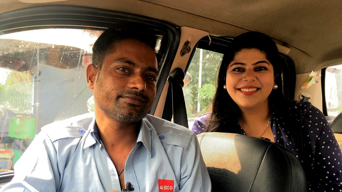 Mohan, a cab driver in Delhi with RJ Stutee Ghosh.