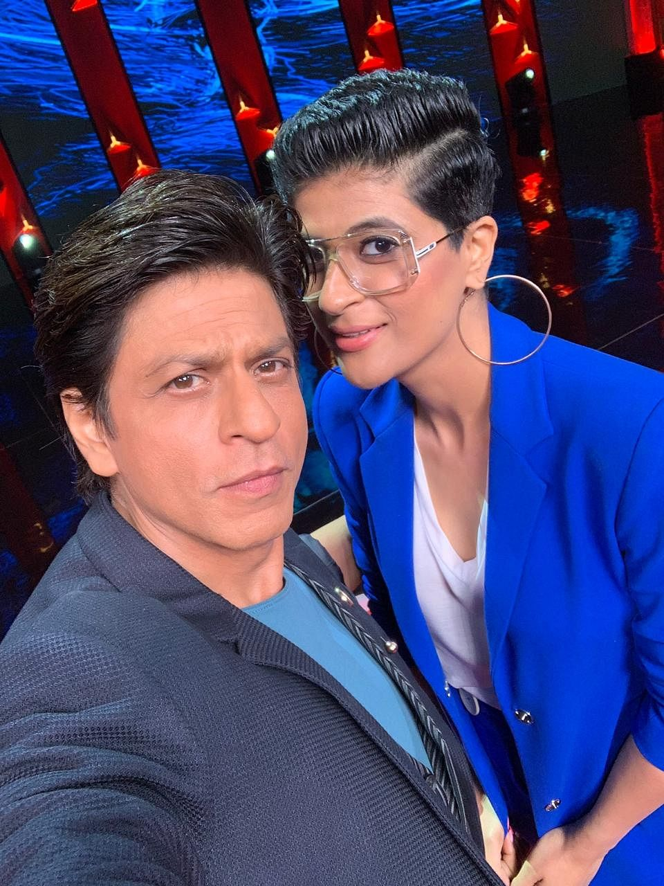 Shah Rukh Khan with Tahira Kashyap on the sets of TED Talks India Nayi Baat.