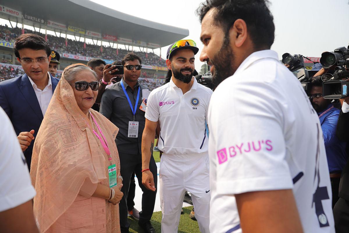 Virat Kohli and Rohit Sharma meet Bangladesh Prime Minister Sheikh Hasina ahead of the India vs Bangladesh pink-ball Test.