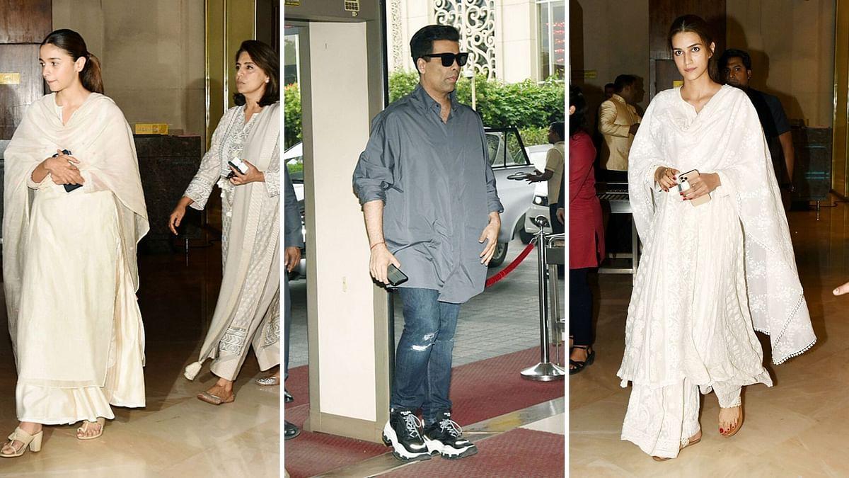 Pics: Alia, KJo, Kriti at Manish Malhotra's Father's Prayer Meet