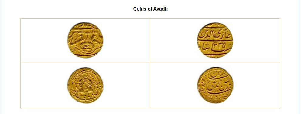 Screenshot of the representational coin of Awadh