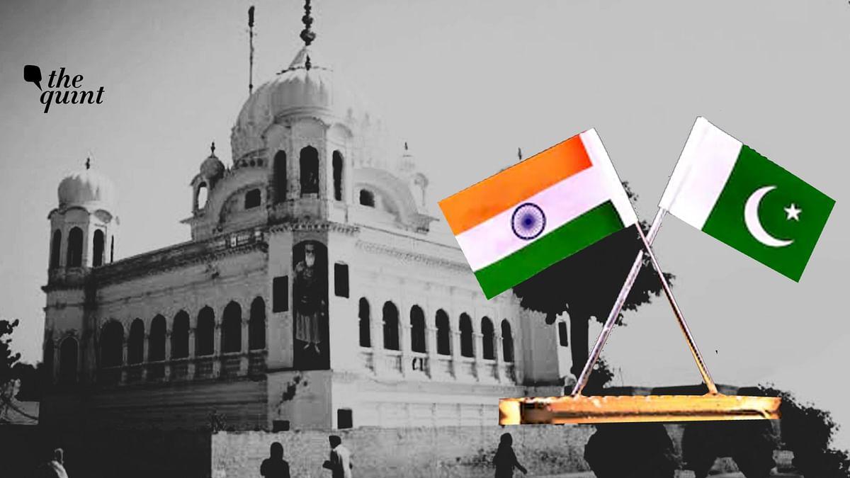 Image of Darbar Sahib Gurudwara, Pakistan, and India & Pakistan flags, used for representational purposes.
