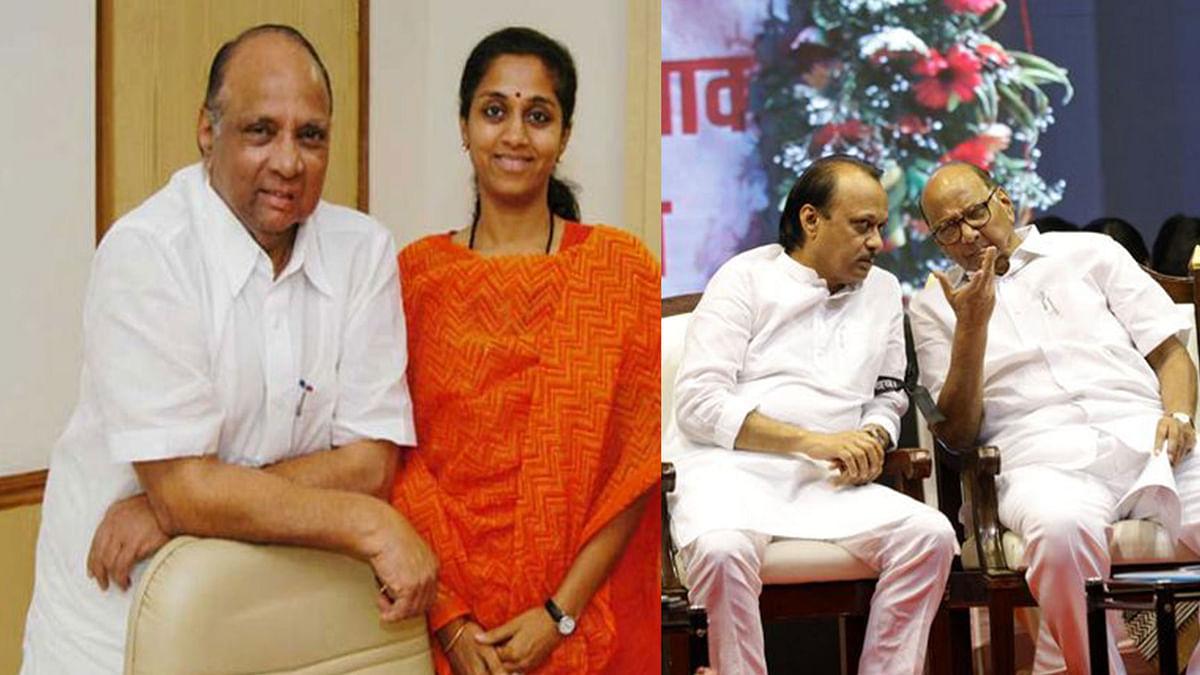 Sharad Pawar with daughter Supriya Sule and Pawar with nephew Ajit