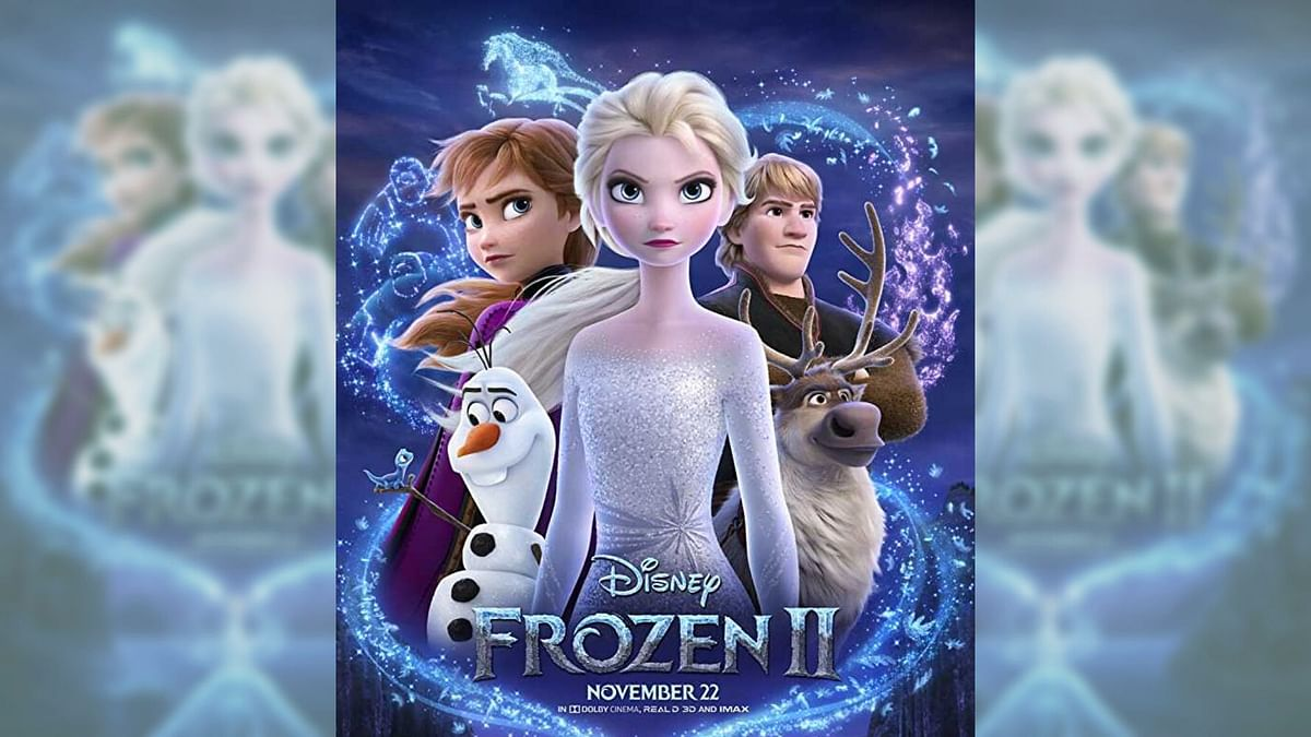 A poster featuring Elsa and Anna from <i>Frozen 2</i>.