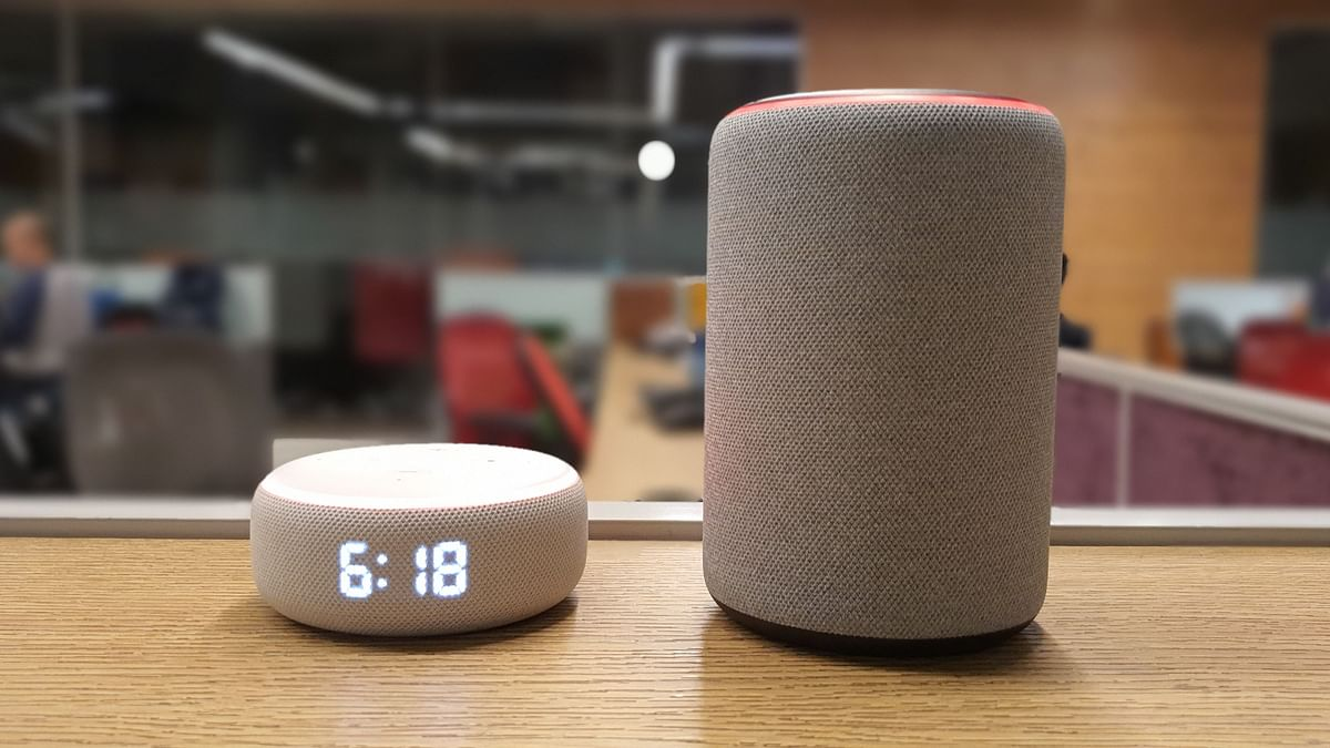The third-generation Amazon Echo Dot (left) and Echo.