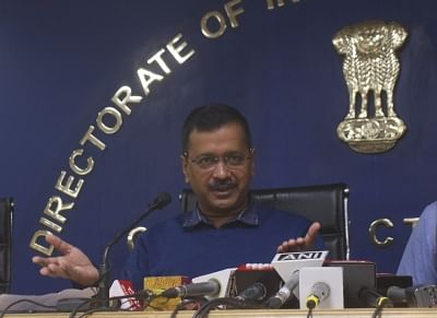 New Delhi: Delhi Chief Chief Minister Arvind Kejriwal addressing a press conference to announce Chief Minister Advocate Welfare Fund in New Delhi on Nov. 29, 2019. (Photo: IANS)