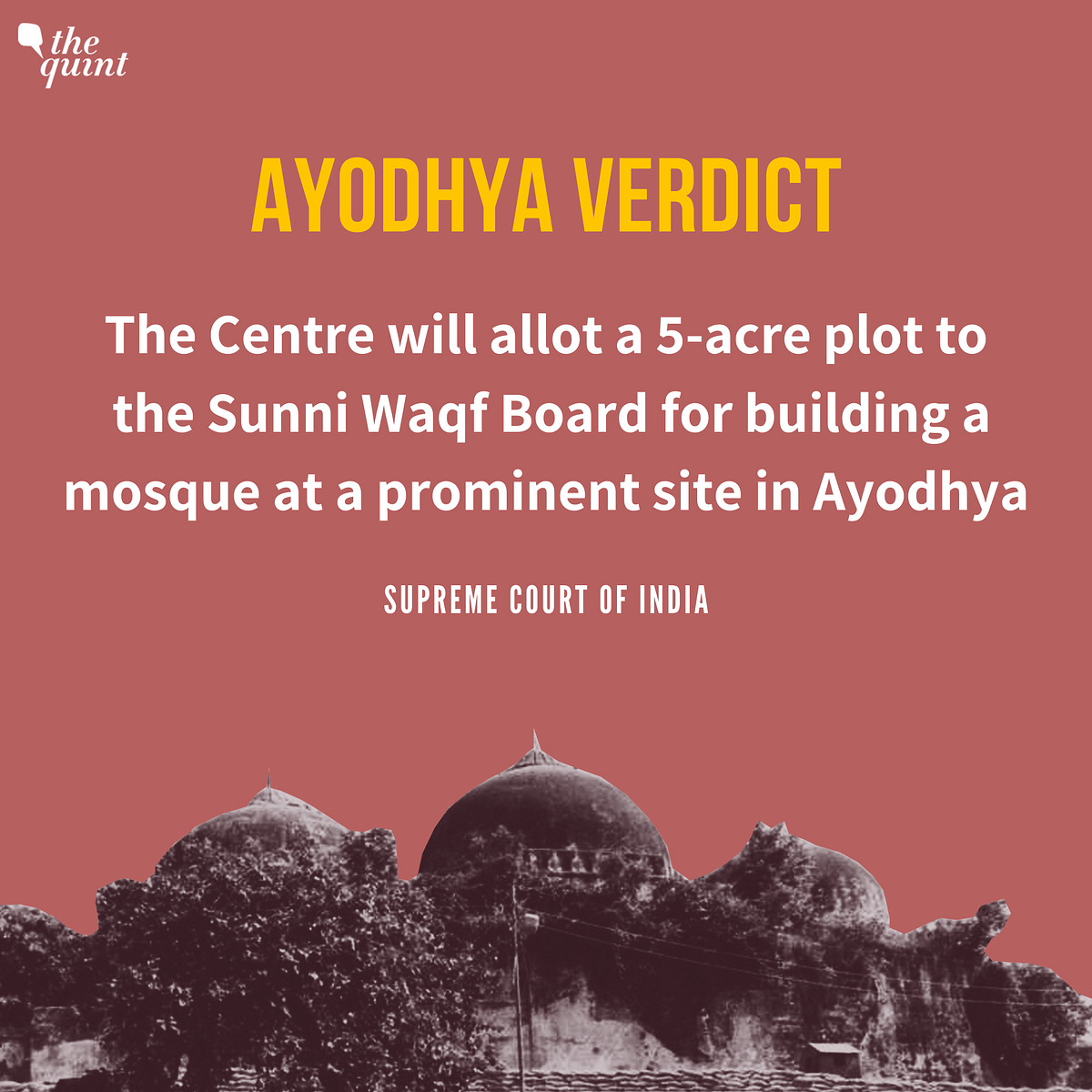 SC on Ayodhya: Disputed Land to Hindus, Alternate Site for Muslims