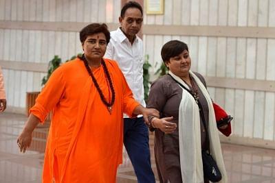 New Delhi: BJP MP Sadhvi Pragya Singh Thakur arrives to attend the two-day training programme