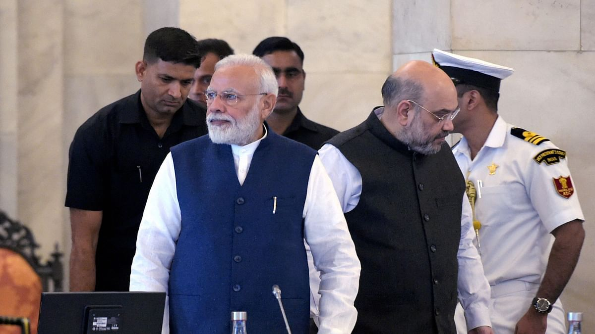 Prime Minister Narendra Modi and Home Minister Amit Shah during the '50th Conference of Governors and Lt Governors', at Rashtrapati Bhavan in New Delhi, Saturday, 23 November.