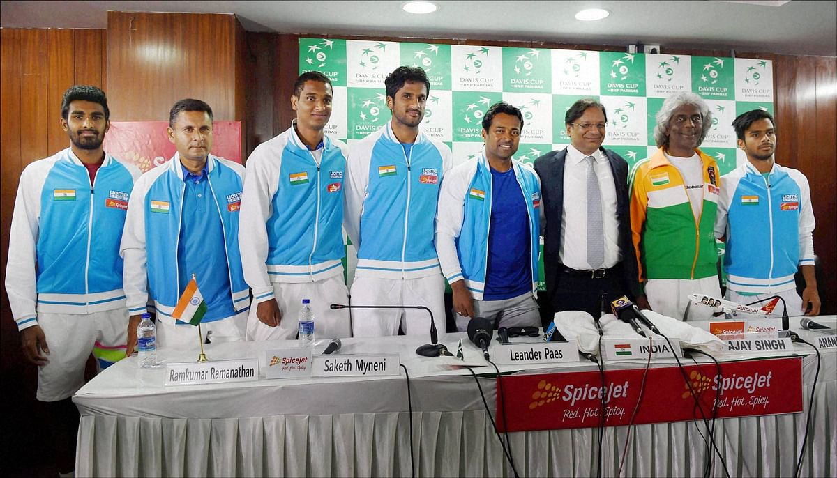 File picture of the Indian Davis Cup team that will now travel to Nur-Sultan to take on Pakistan in the upcoming Davis Cup tie.