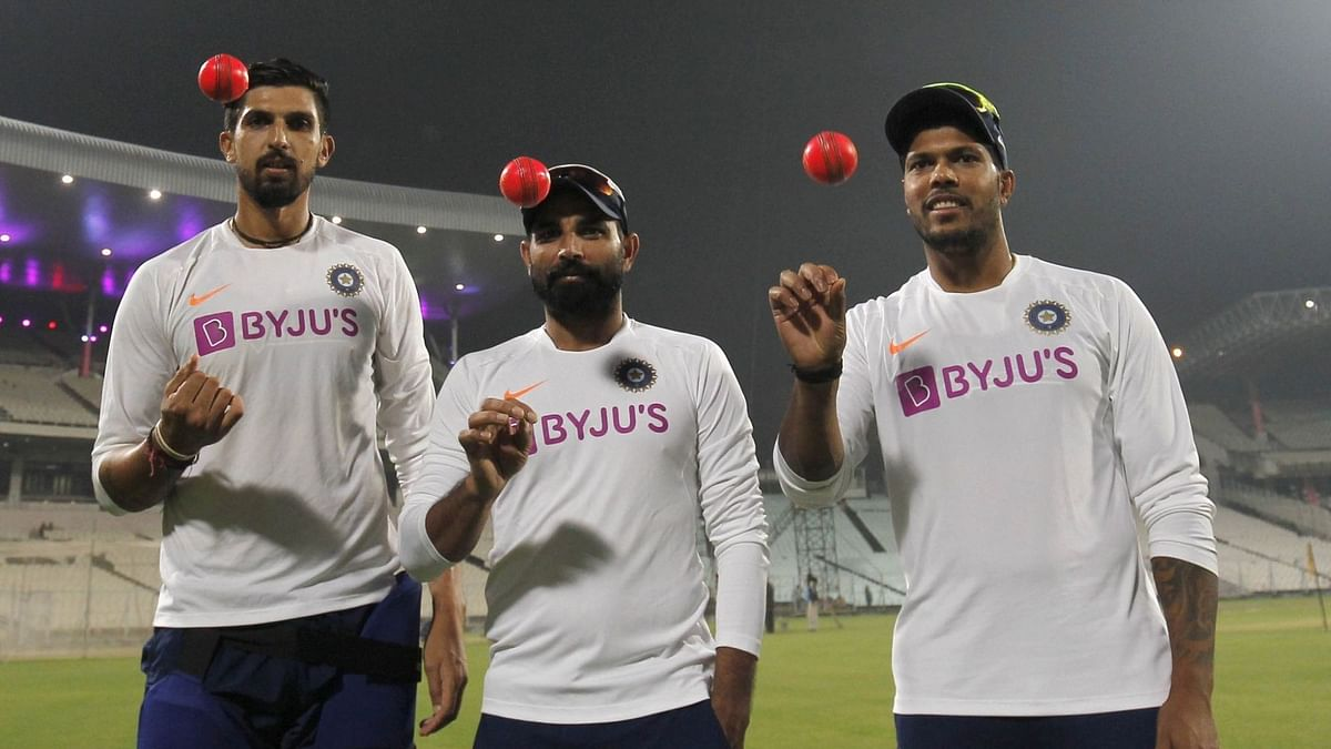 Ishant Sharma (left), Mohammed Shami (centre) and Umesh Yadav on the eve of the Pink-Ball Test at Eden Gardens.