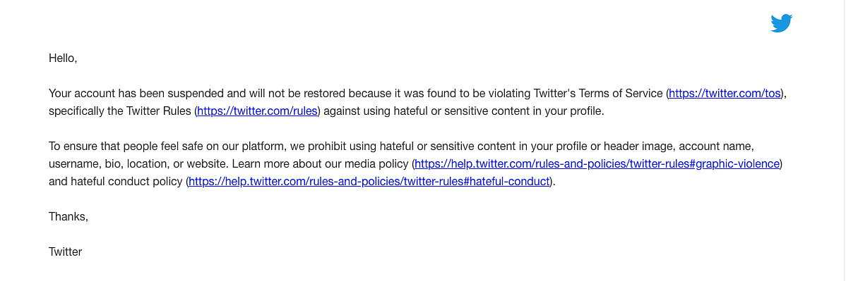 A screenshot of the email that Twitter sent SC advocate Sanjay Hegde telling him that it won't restore his account.