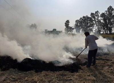 New Delhi: Stubble being burned at an agricultural field on the outskirts of New Delhi on Oct 16, 2019. The Arvind Kejriwal-led Aam Aadmi Party government has been blaming the severe air pollution in Delhi on these stubble burning activity. Since the past one week, the air quality of the national capital has seen constantly decreasing. The pollution levels in Delhi was found to be two times higher than the safe levels at noon on Wednesday. The air quality index (AQI) was 309. (Photo: IANS)