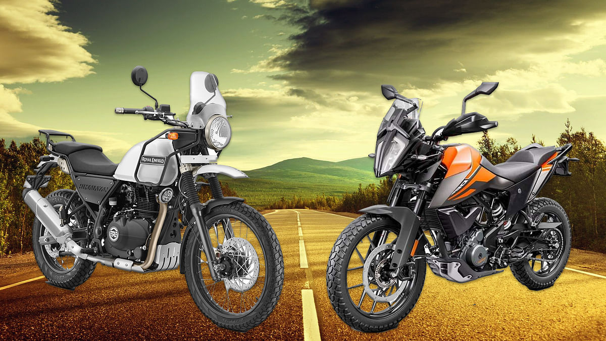 Royal Enfield Himalayan (left) and KTM 390 Adventure (right).