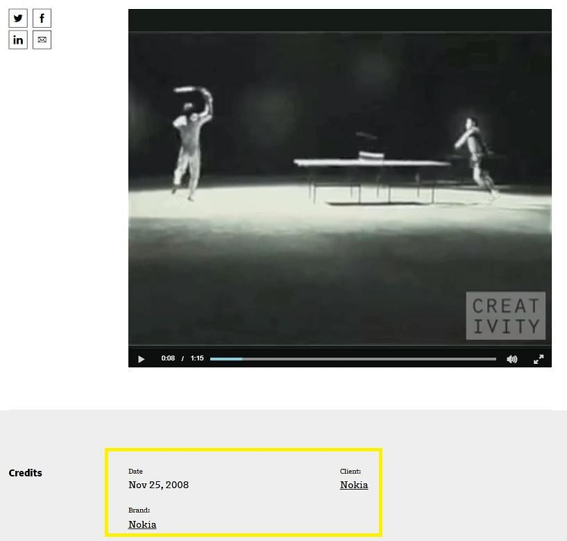 Screenshot of the website hosting the Nokia ad.