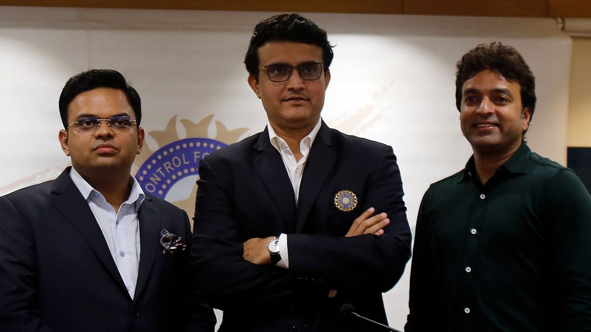 President of the Board of Control for Cricket in India (BCCI) Sourav Ganguly, center, Secretary Jay Shah, left, and Treasurer Arun Dhumal.