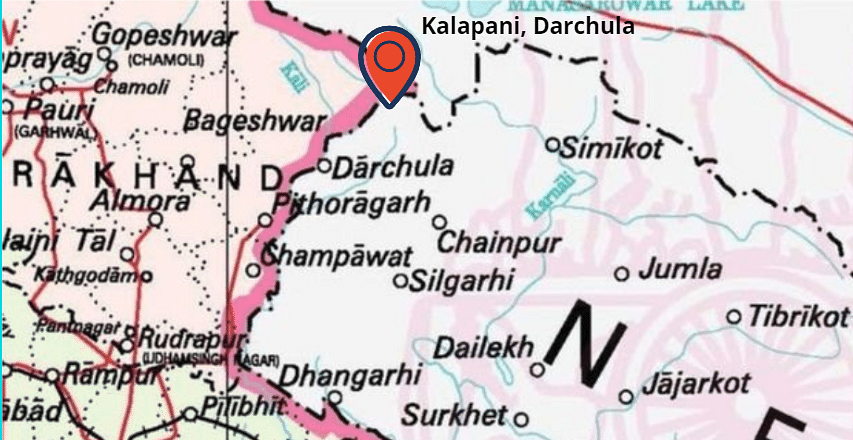 Kalapani represented on the map of Nepal.