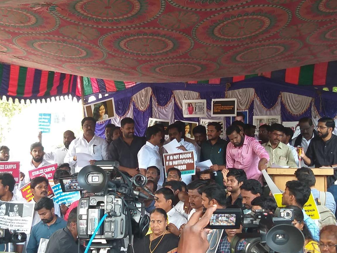 Student bodies protesting at Valluvar Kottam in Chennai on Tuesday.