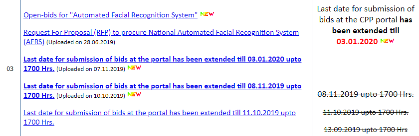 A screenshot of NCRB's tender page shows the number of times the deadlinse have been set and later extended.