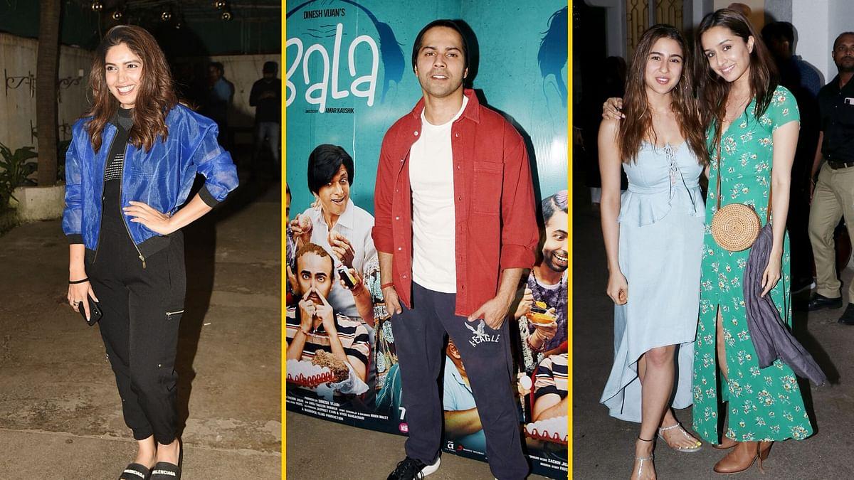 In Pics: Varun, Janhvi, Sara, Shraddha Attend 'Bala' Screening