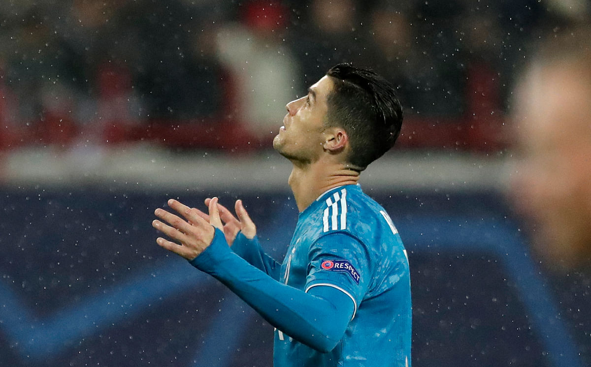 Juventus' Cristiano Ronaldo reacts during the Champions League Group D game between Lokomotiv Moscow and Juventus at the Lokomotiv Stadium in Moscow, Russia.