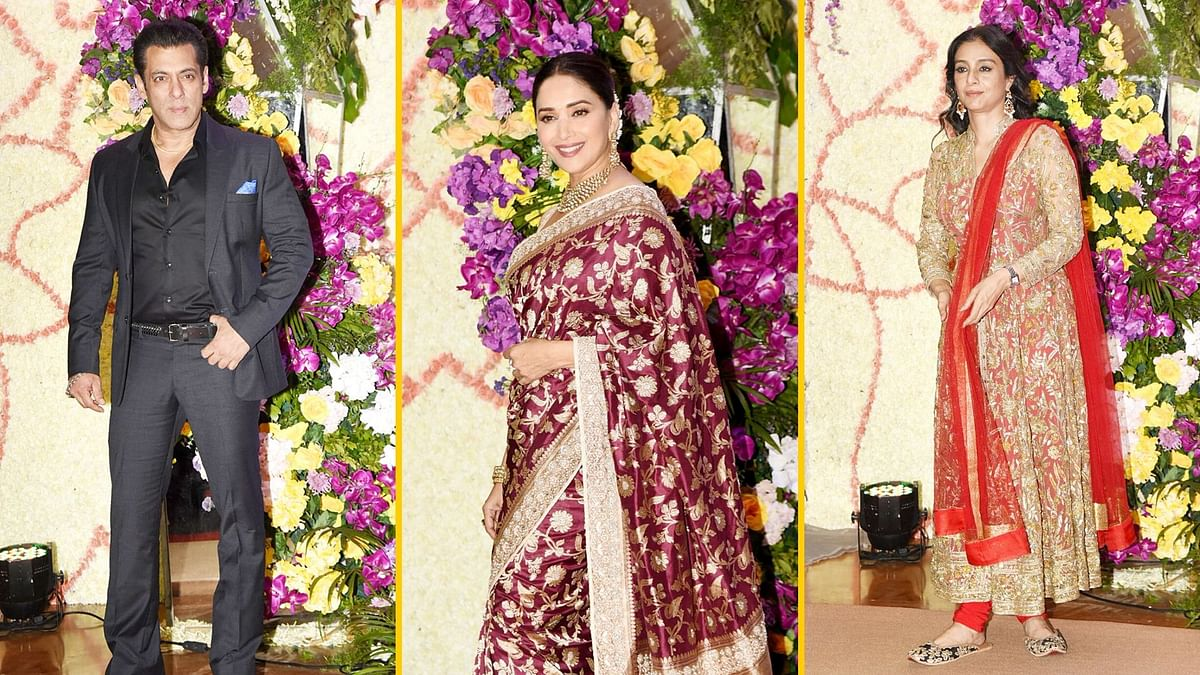 Pics: Salman, Madhuri, Tabu Attend Sooraj Barjatya's Son's Wedding