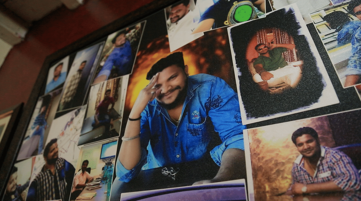 A frame of Kalpesh's photos in the Jadhav house.