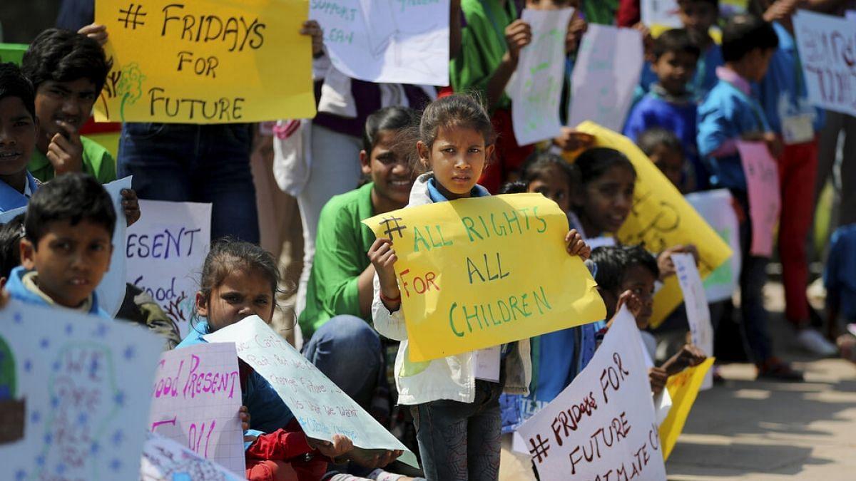 Children protest against climate change.