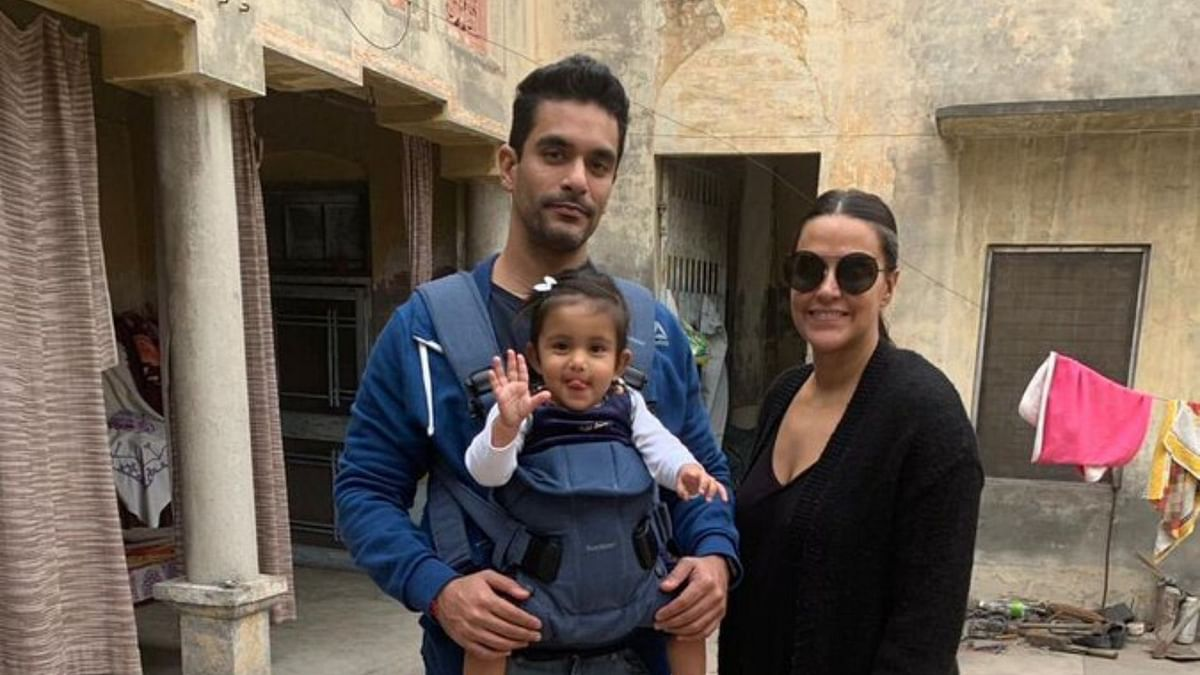Pics: Neha Dhupia, Angad Bedi Visit Ancestral Home with Baby Mehr