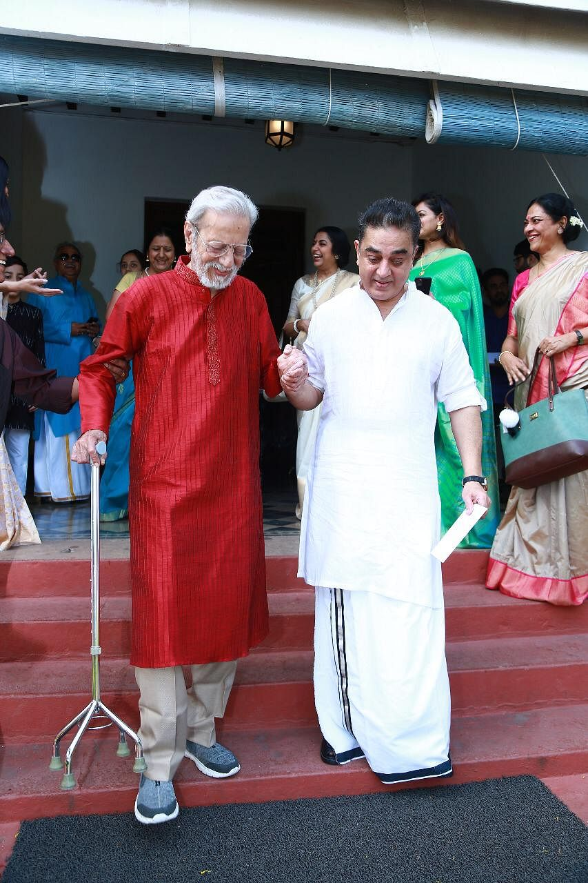 Kamal Haasan with his elder brother, actor and filmmaker Charu Haasan.