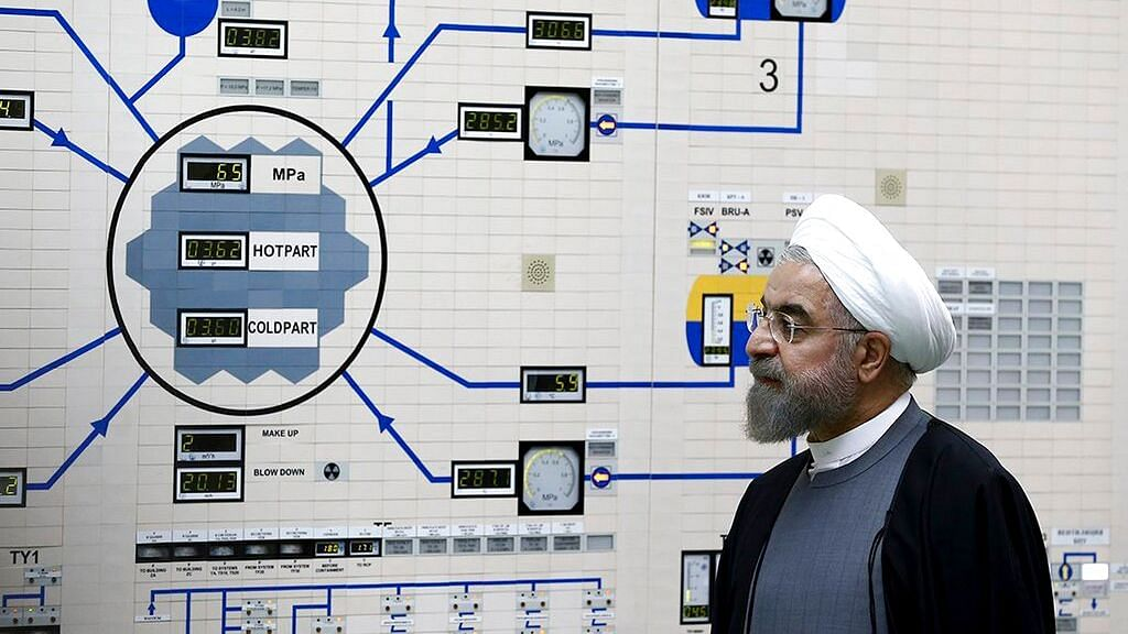 President Hassan Rouhani at the Bushehr nuclear power plant just outside of Bushehr, Iran.