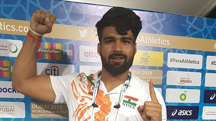 Javelin thrower Sandeep Chaudhary bettered his own world record of 65.80m in the F44 category.