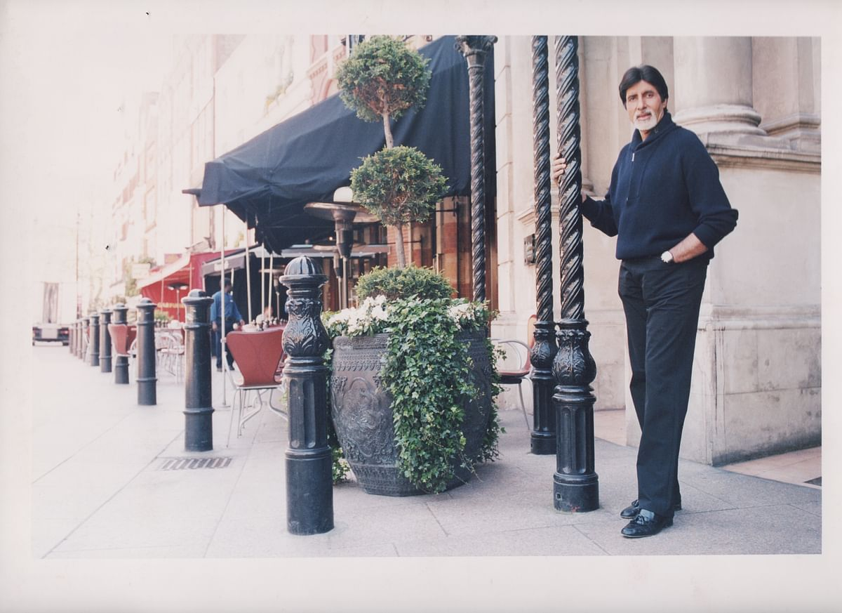 Amitabh Bachchan posing for the camera in London.