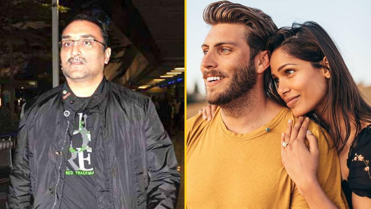 Aditya Chopra, Chairman of Yash Raj Films; Freida Pinto with fiance Cory Tan.